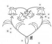 Coloriage Rose et Coeur adorable