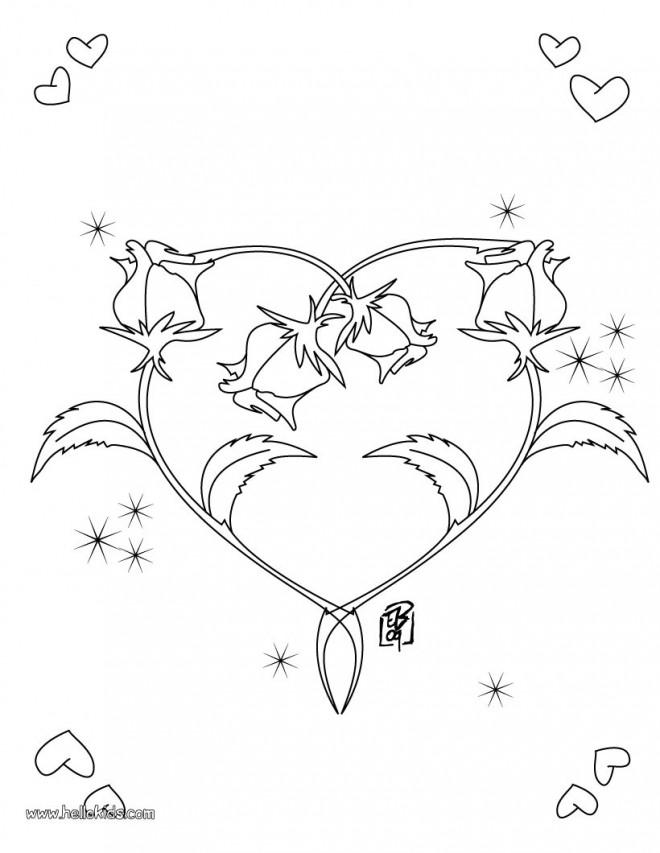 Coloriage et dessins gratuits Rose et Coeur adorable à imprimer