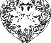 Coloriage Rose et Coeur Anti-Stress