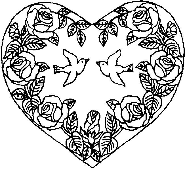 Coloriage et dessins gratuits Rose et Coeur Anti-Stress à imprimer