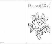 Coloriage Rose et Coeur Bonne Fête