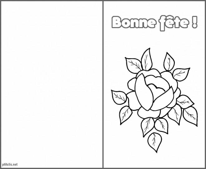 Coloriage et dessins gratuits Rose et Coeur Bonne Fête à imprimer