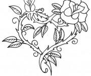 Coloriage Rose et Coeur en rouge
