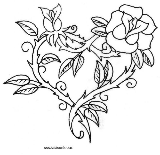 Coloriage et dessins gratuits Rose et Coeur en rouge à imprimer