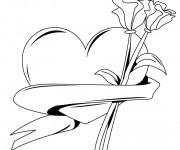 Coloriage Rose et Coeur en vecteur