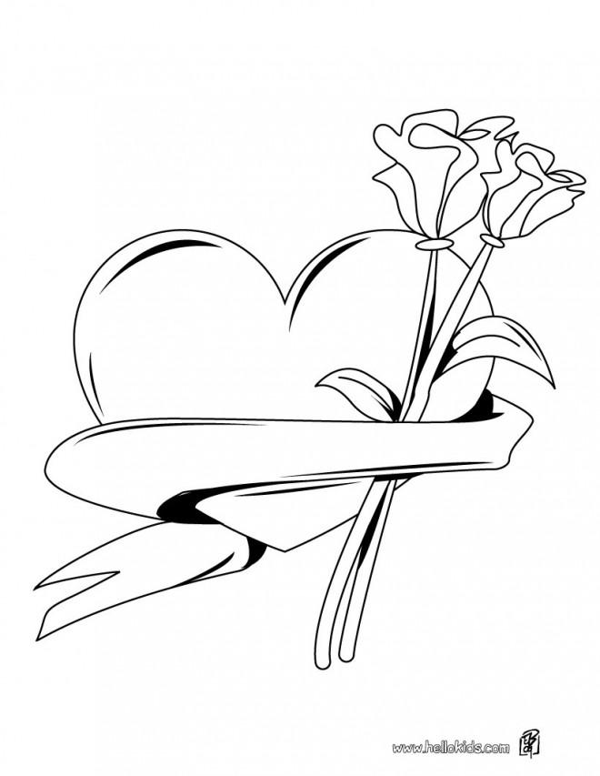 Coloriage et dessins gratuits Rose et Coeur en vecteur à imprimer