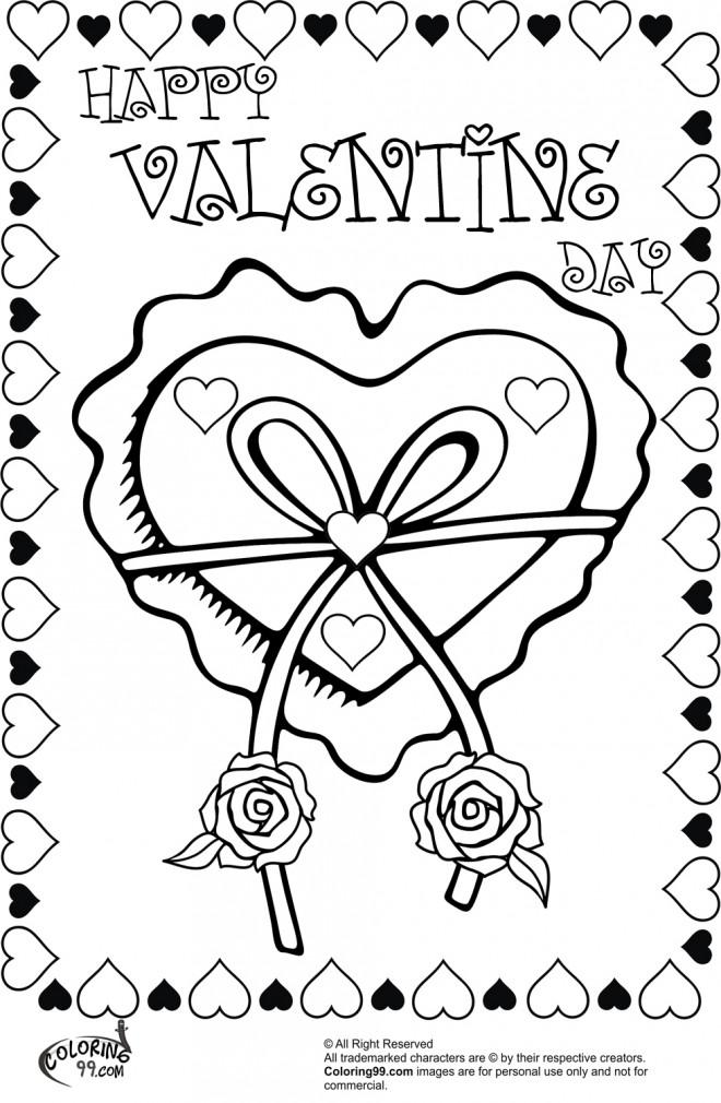 Coloriage et dessins gratuits Rose et Coeur et Le Jour Saint Valentin à imprimer