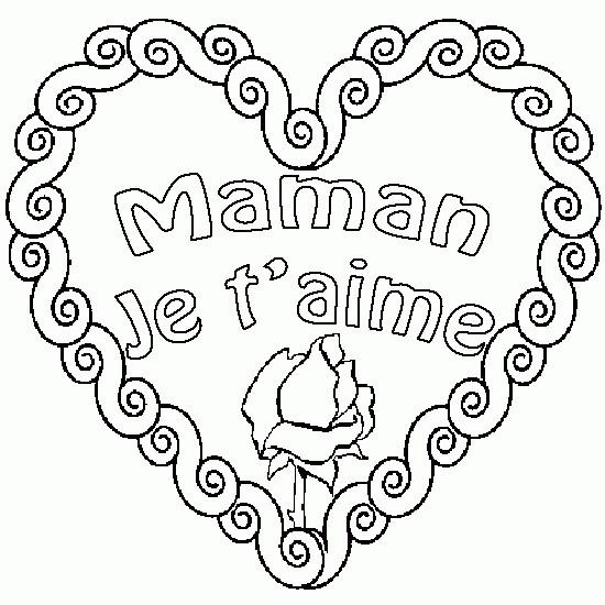 Coloriage rose et coeur maman je t 39 aime dessin gratuit imprimer - Dessin de coeur a colorier ...