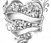 Coloriage Rose et Coeur merveilleux