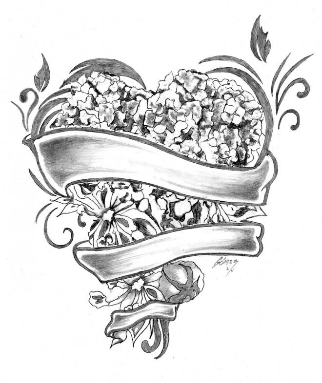 Coloriage et dessins gratuits Rose et Coeur merveilleux à imprimer