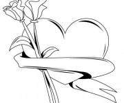 Coloriage Rose et Coeur pour enfant