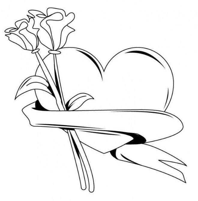 Coloriage et dessins gratuits Rose et Coeur pour enfant à imprimer