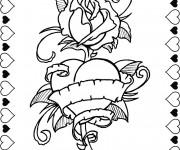 Coloriage et dessins gratuit Rose et Coeur pour exprimer L'amour à imprimer