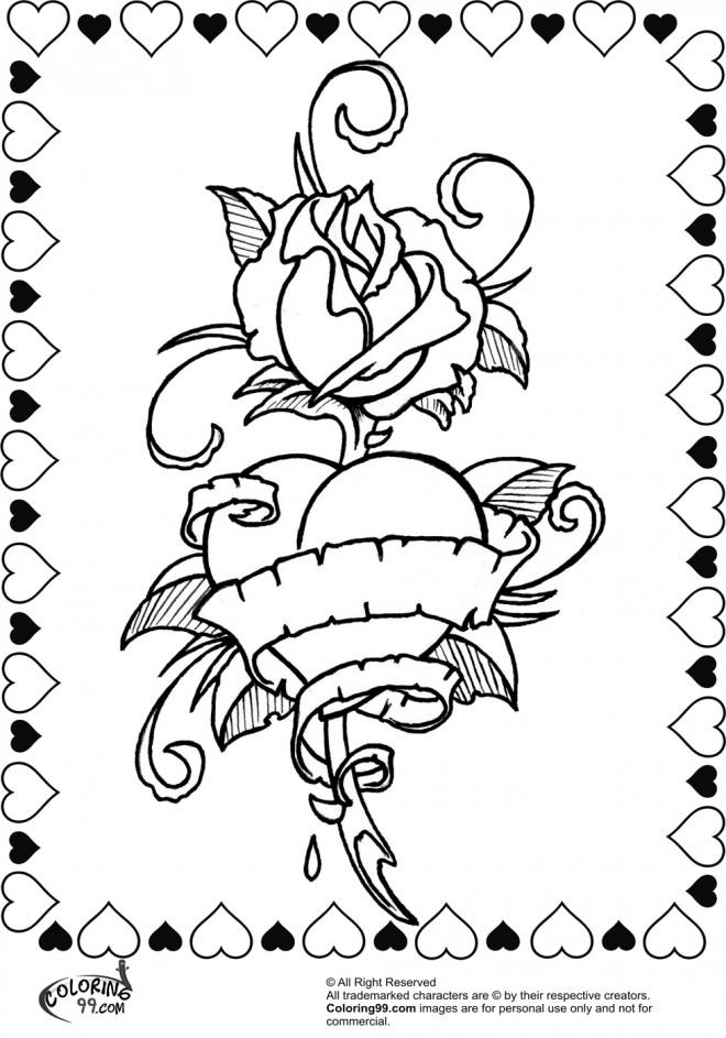 Coloriage Adulte A Imprimer Amour.Coloriage Rose Et Coeur Pour Exprimer L Amour Dessin Gratuit