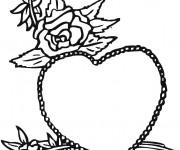 Coloriage Rose et Coeur pour Les Grands