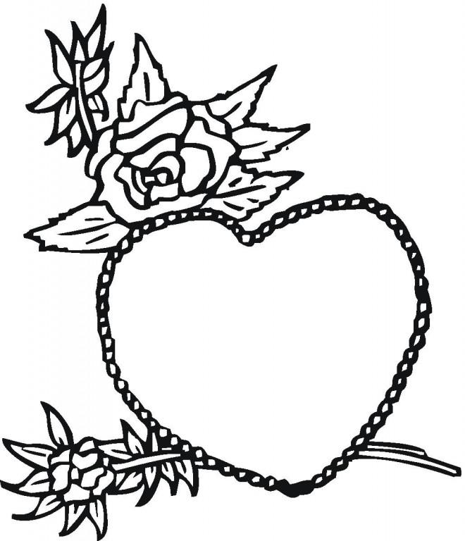 Coloriage et dessins gratuits Rose et Coeur pour Les Grands à imprimer