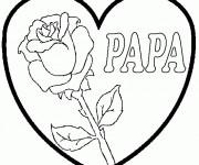 Coloriage Rose et Coeur pour Papa