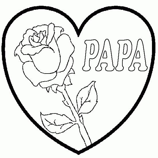 Coloriage et dessins gratuits Rose et Coeur pour Papa à imprimer