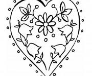 Coloriage Rose et Coeur relaxant
