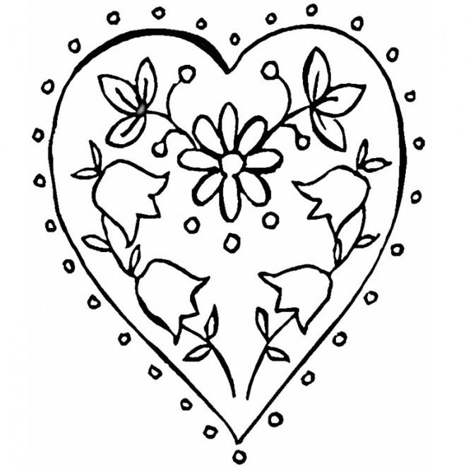 Coloriage et dessins gratuits Rose et Coeur relaxant à imprimer