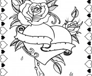 Coloriage et dessins gratuit Rose et Coeur Saint Valentin à imprimer