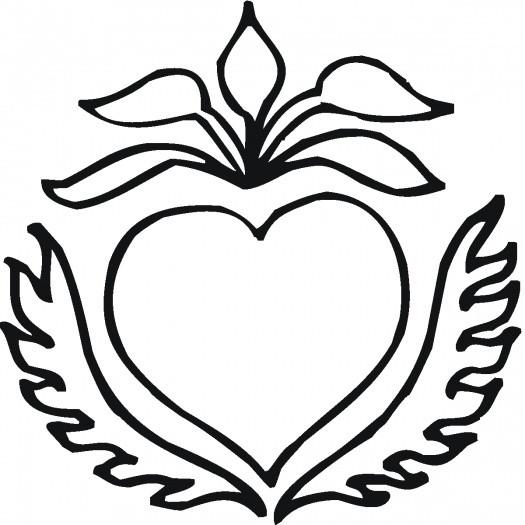 Coloriage Rose Et Coeur Simple Dessin Gratuit à Imprimer