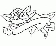 Coloriage Rose et Coeur splendide