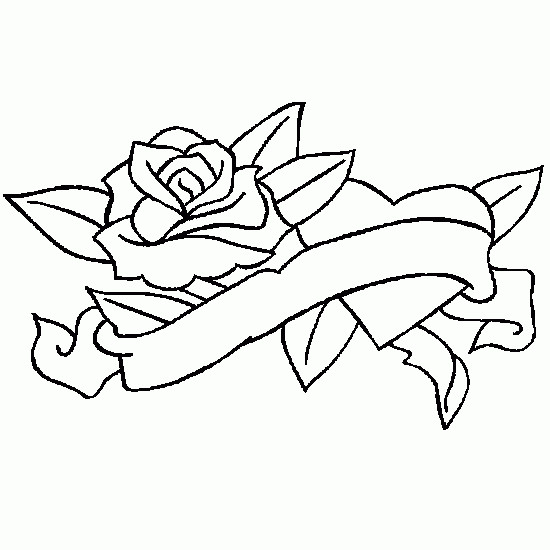 Coloriage et dessins gratuits Rose et Coeur splendide à imprimer