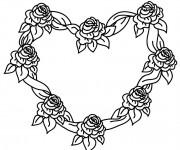 Coloriage Roses Coeur d'amour