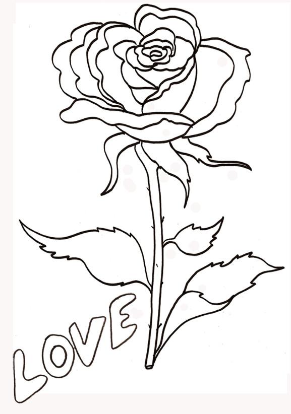 Coloriage et dessins gratuits Une Fleur symbole d'amour à imprimer
