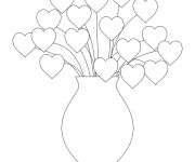 Coloriage Vase des Coeurs