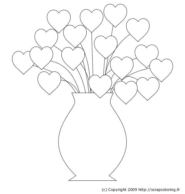 coloriage vase des coeurs dessin gratuit imprimer. Black Bedroom Furniture Sets. Home Design Ideas