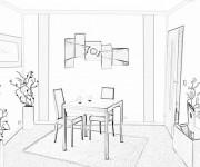 Coloriage et dessins gratuit Image de Salle à manger à imprimer