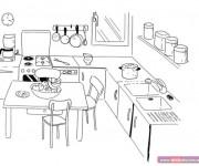 Coloriage et dessins gratuit La Cuisine dessin animé à imprimer
