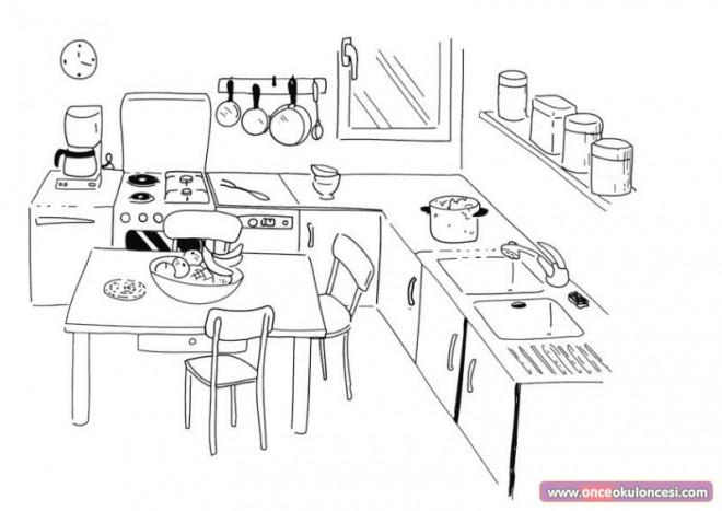 Coloriage la cuisine dessin anim dessin gratuit imprimer for Salle manger dessin