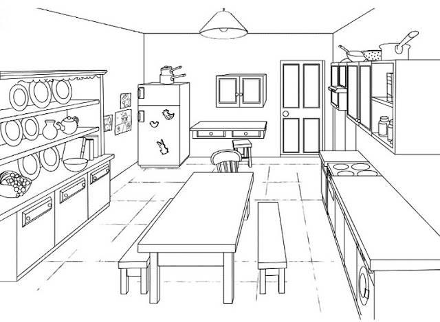 Coloriage et dessins gratuits Modèle cuisine en ligne à imprimer