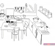 Coloriage dessin  Salle a Manger 14
