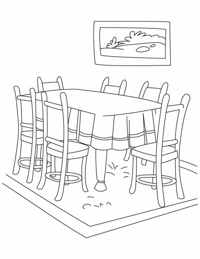 Coloriage salle manger colorier for Salle manger dessin