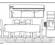 Coloriage et dessins gratuit Salle à manger à découper à imprimer