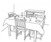 Coloriage et dessins gratuit Salle à manger en noir et blanc à imprimer