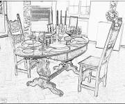 Coloriage et dessins gratuit Salle à manger réaliste à imprimer