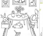Coloriage et dessins gratuit Salle à manger sympathique à imprimer