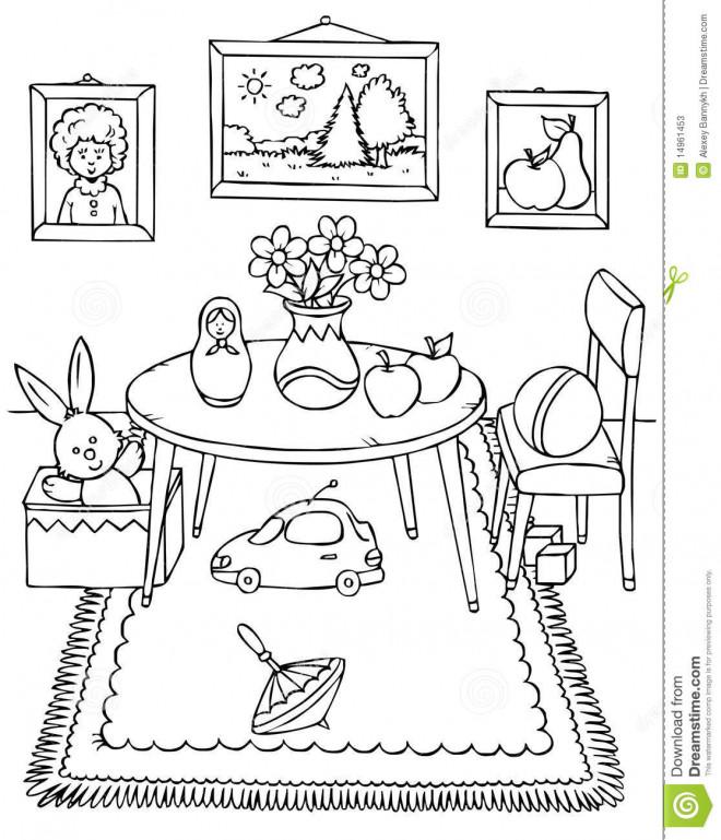 Coloriage et dessins gratuits Salle à manger sympathique à imprimer