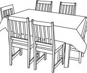 Coloriage Table de La Salle à manger