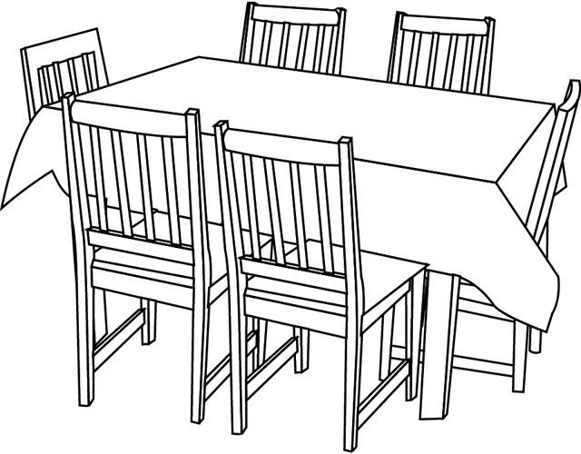 Coloriage table de la salle manger dessin gratuit imprimer - Dessin manger ...
