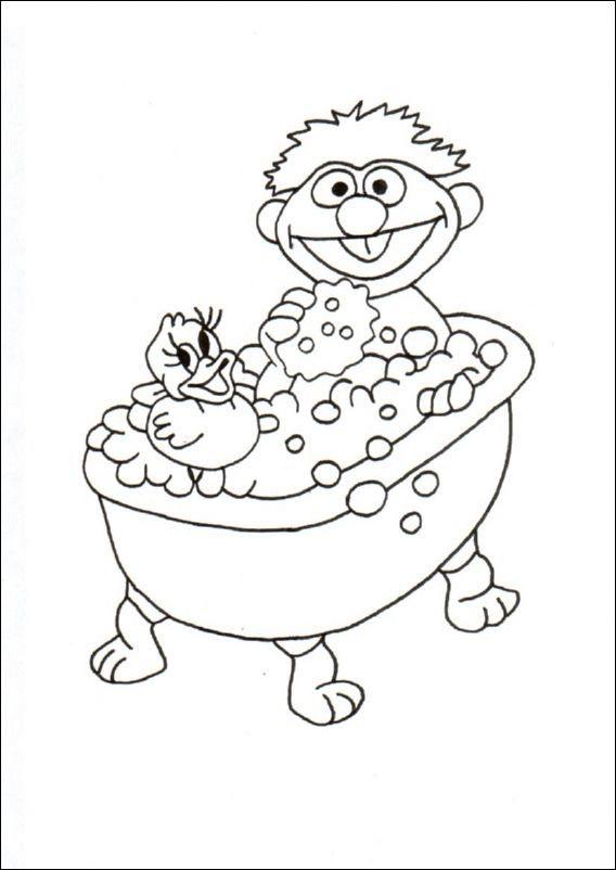 Coloriage et dessins gratuits Enfant dans Une Baignoire à imprimer