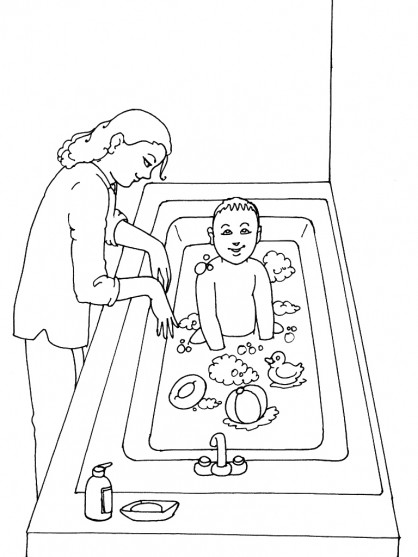 Coloriage et dessins gratuits Garçon amusé dans La Salle de Bain à imprimer