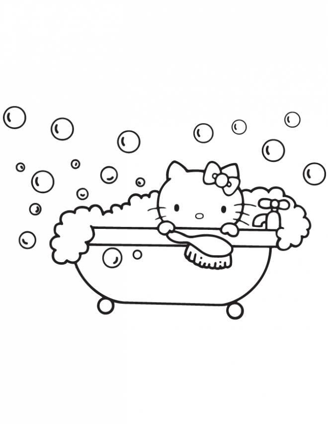 Coloriage et dessins gratuits Hello Kitty prend son bain à imprimer