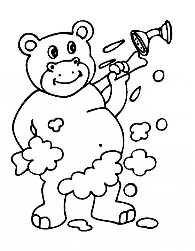 Coloriage et dessins gratuits Hippopotame à La Salle de Bain à imprimer