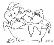 Coloriage L'éléphant dans Le Baignoire